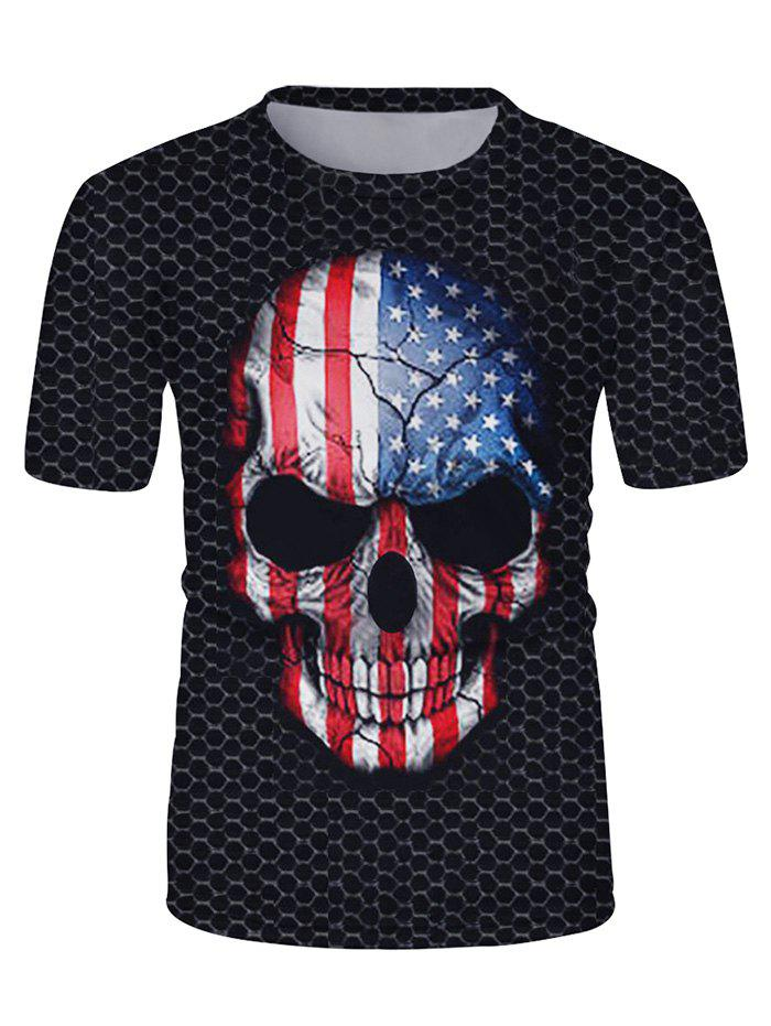 Trendy American Flag Skull Graphic Casual Short Sleeve T Shirt