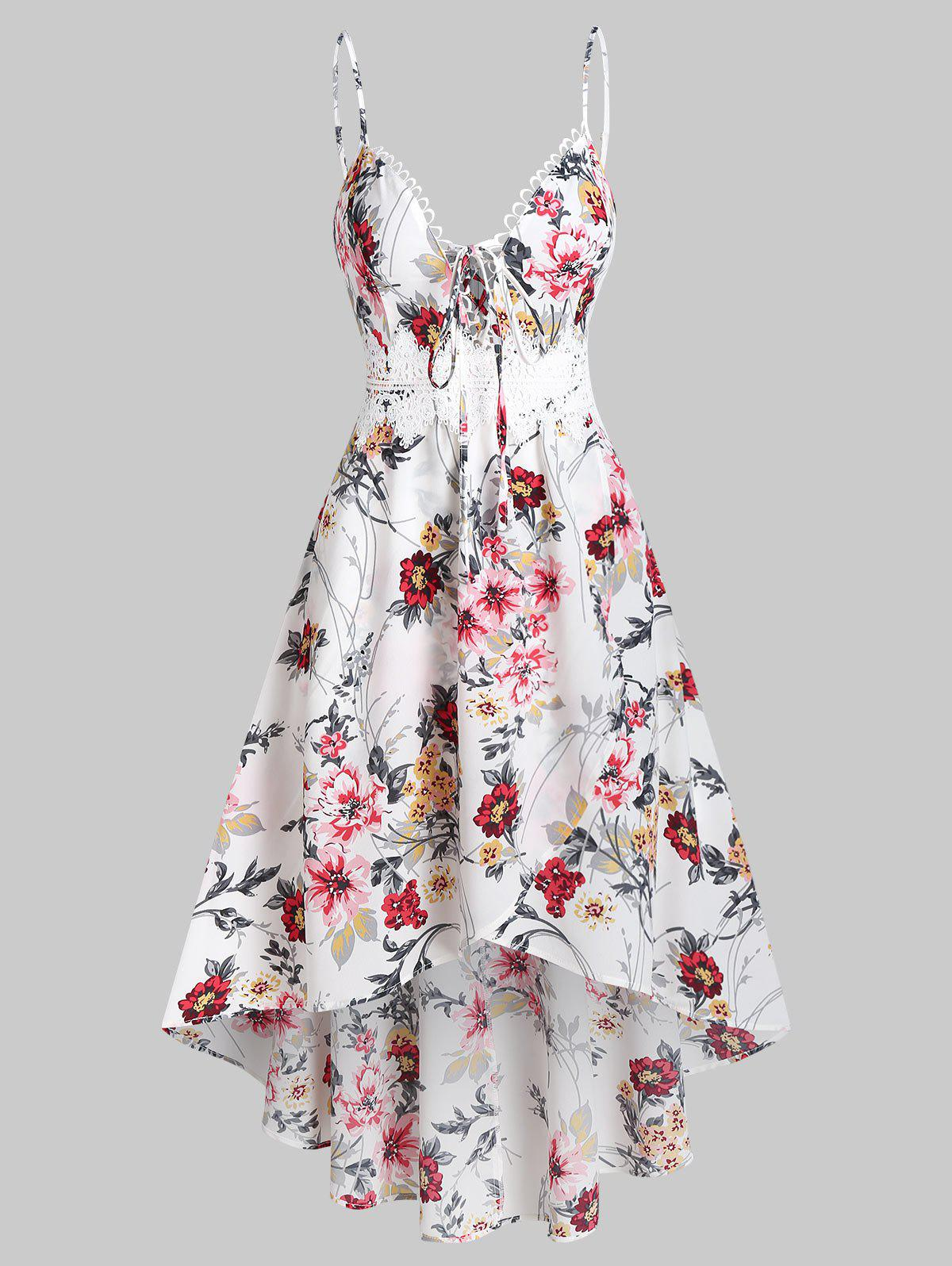 Shops Plunging Neck Bowknot Floral Print Cami Dress