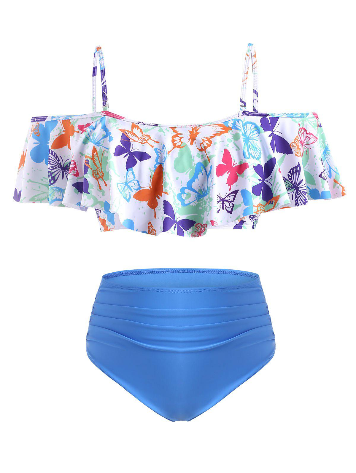 Buy Plus Size Butterfly Print Flounce Ruched Tankini Swimwear