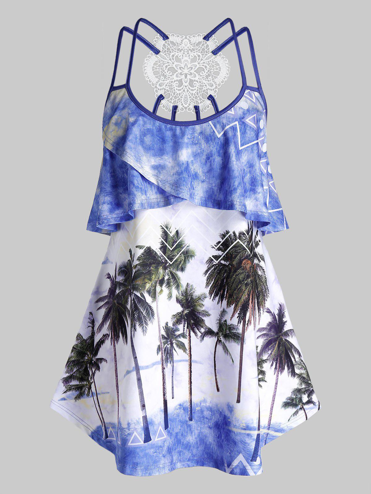 Hot Plus Size Ruffle Palm Tree Print Strappy Tank Top