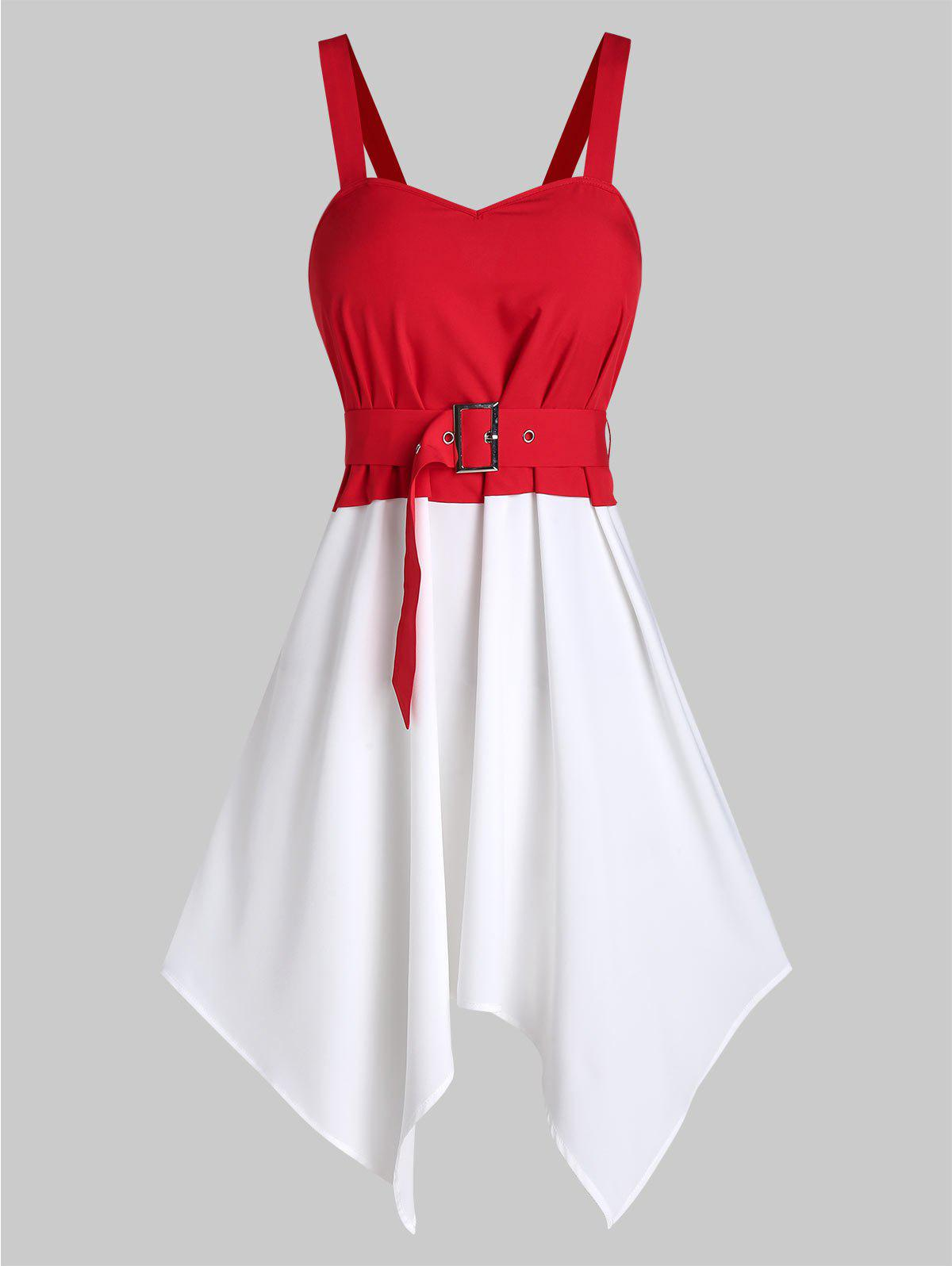 Fancy Sleeveless Hanky Hem Belted Contrast Dress