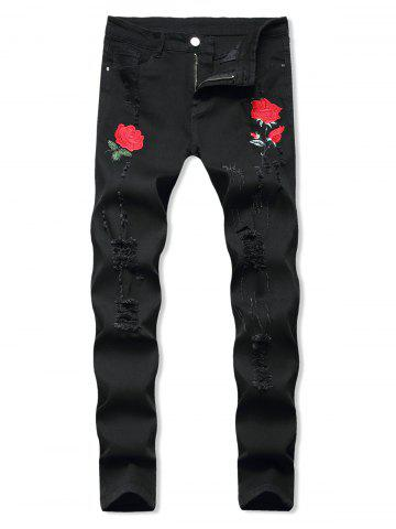 Floral Embroidery Ripped Design Jeans - BLACK - 40