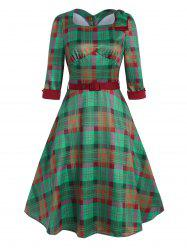 Vintage Plaid Bowknot Belted Dress -