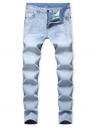 Light Wash Zipper Fly Casual Jeans -