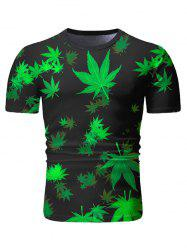 Leaves Print Short Sleeve Casual T-shirt -