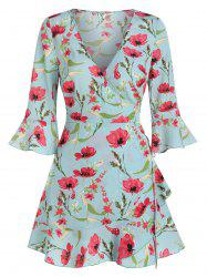 Poet Sleeve Floral Print Wrap Dress -