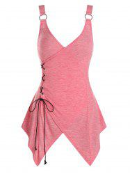Asymmetric Lace-up Heathered Surplice Tank Top -