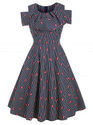 Striped Lip Print A Line Vintage Dress -