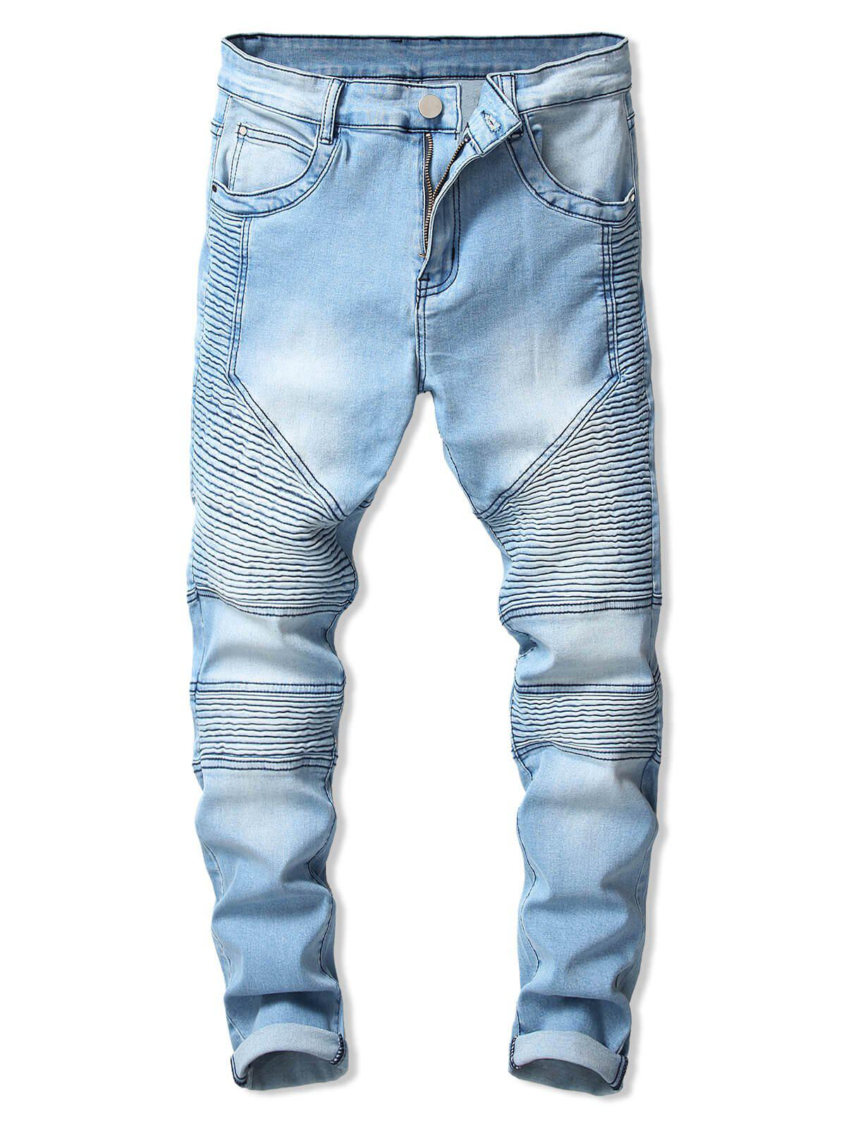 Shop Drape Panel Design Zipper Fly Jeans