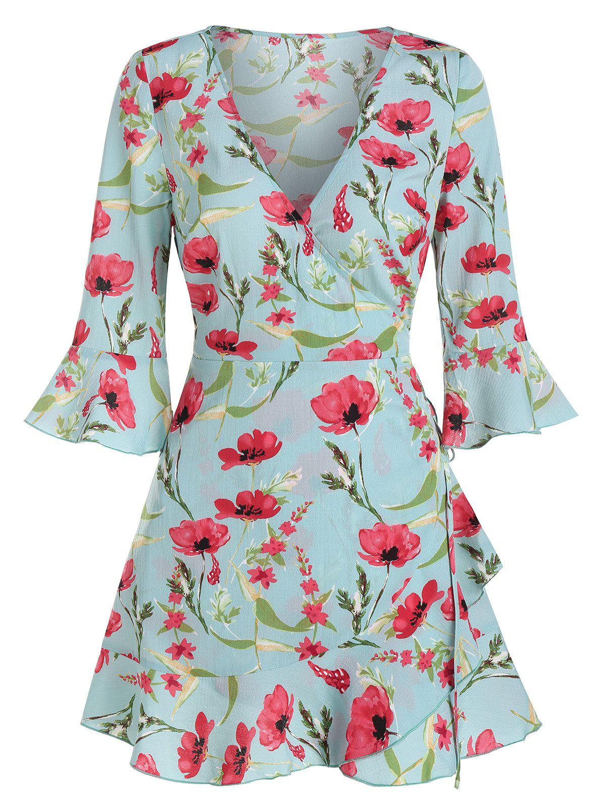 Chic Poet Sleeve Floral Print Wrap Dress