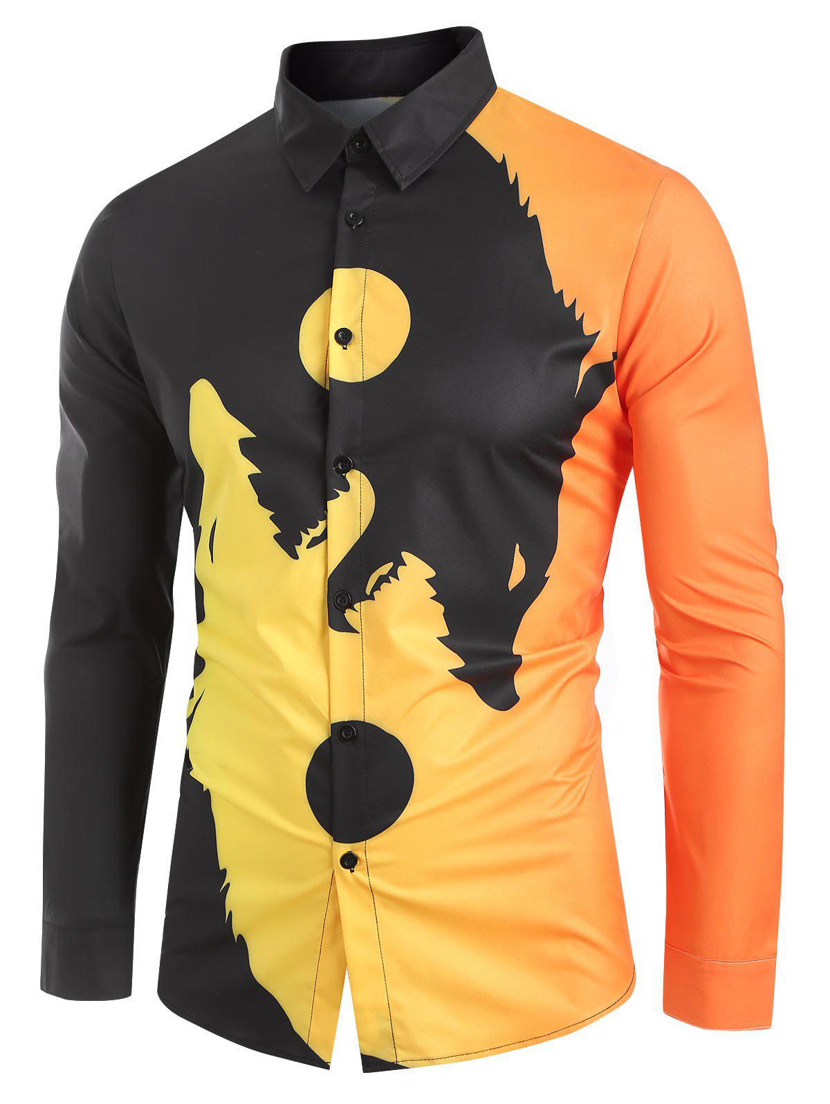 Affordable Wolf Pattern Button Long Sleeves Shirt