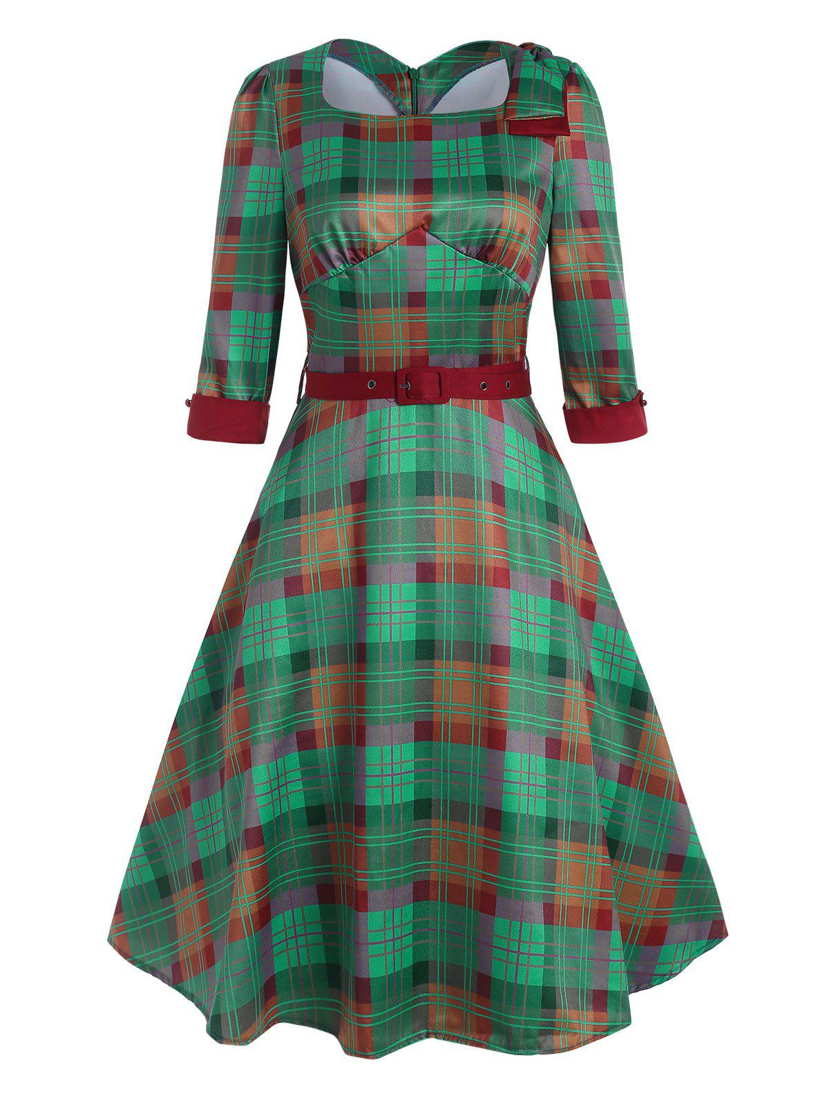 New Vintage Plaid Bowknot Belted Dress