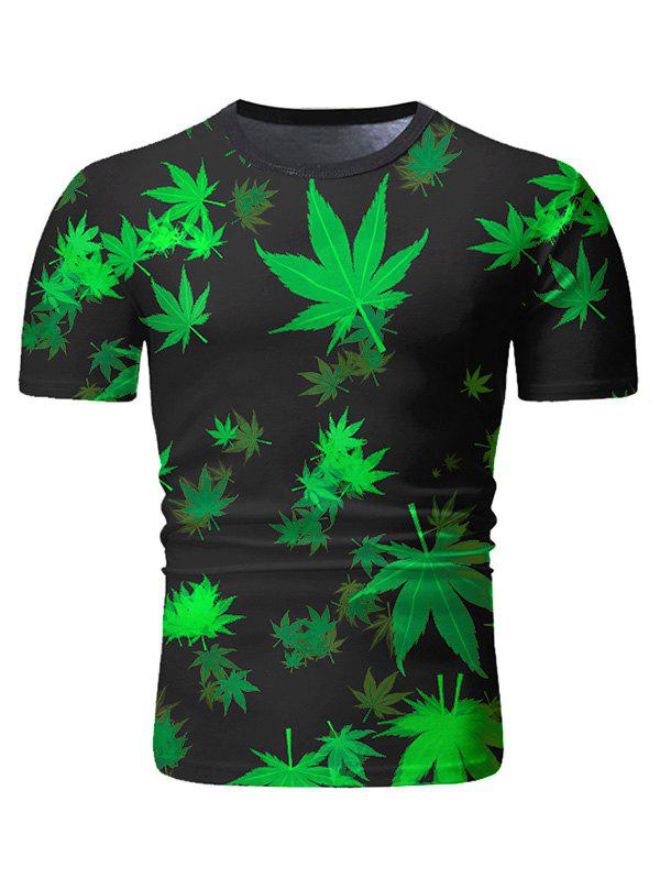 Sale Leaves Print Short Sleeve Casual T-shirt