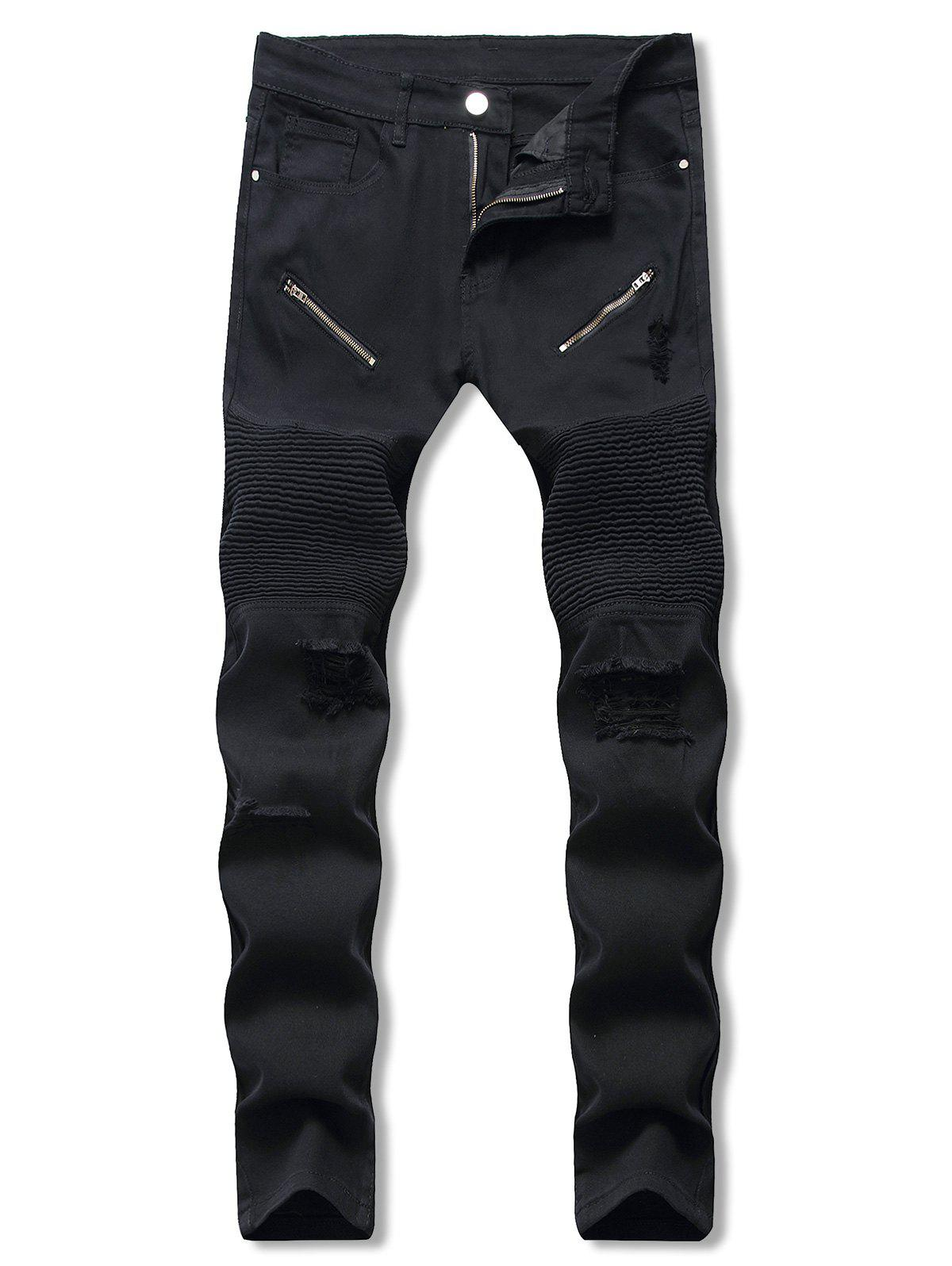 New Solid Color Ripped Casual Jeans