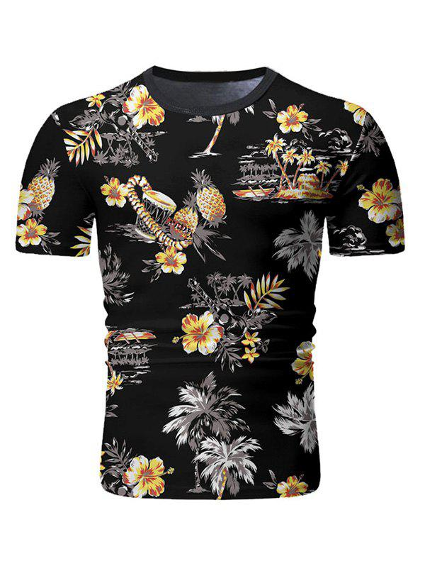 Chic Palm Tree Floral Print Casual T-shirt