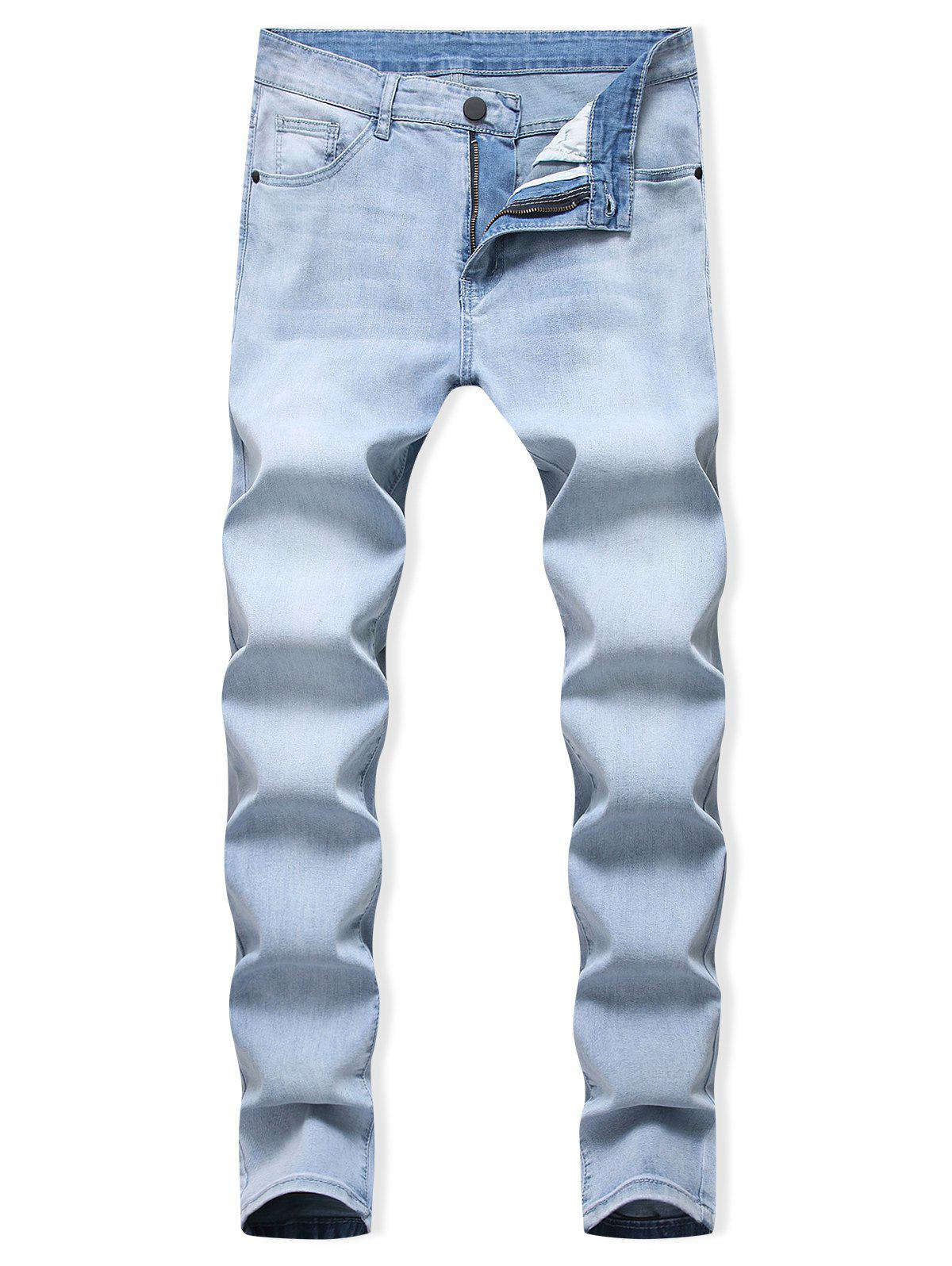 Store Light Wash Zipper Fly Casual Jeans