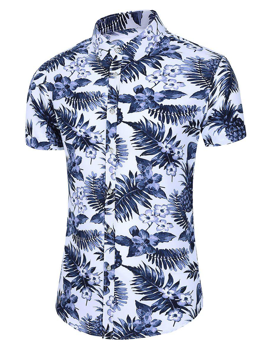 Store Tropical Print Button Up Curved Hem Shirt