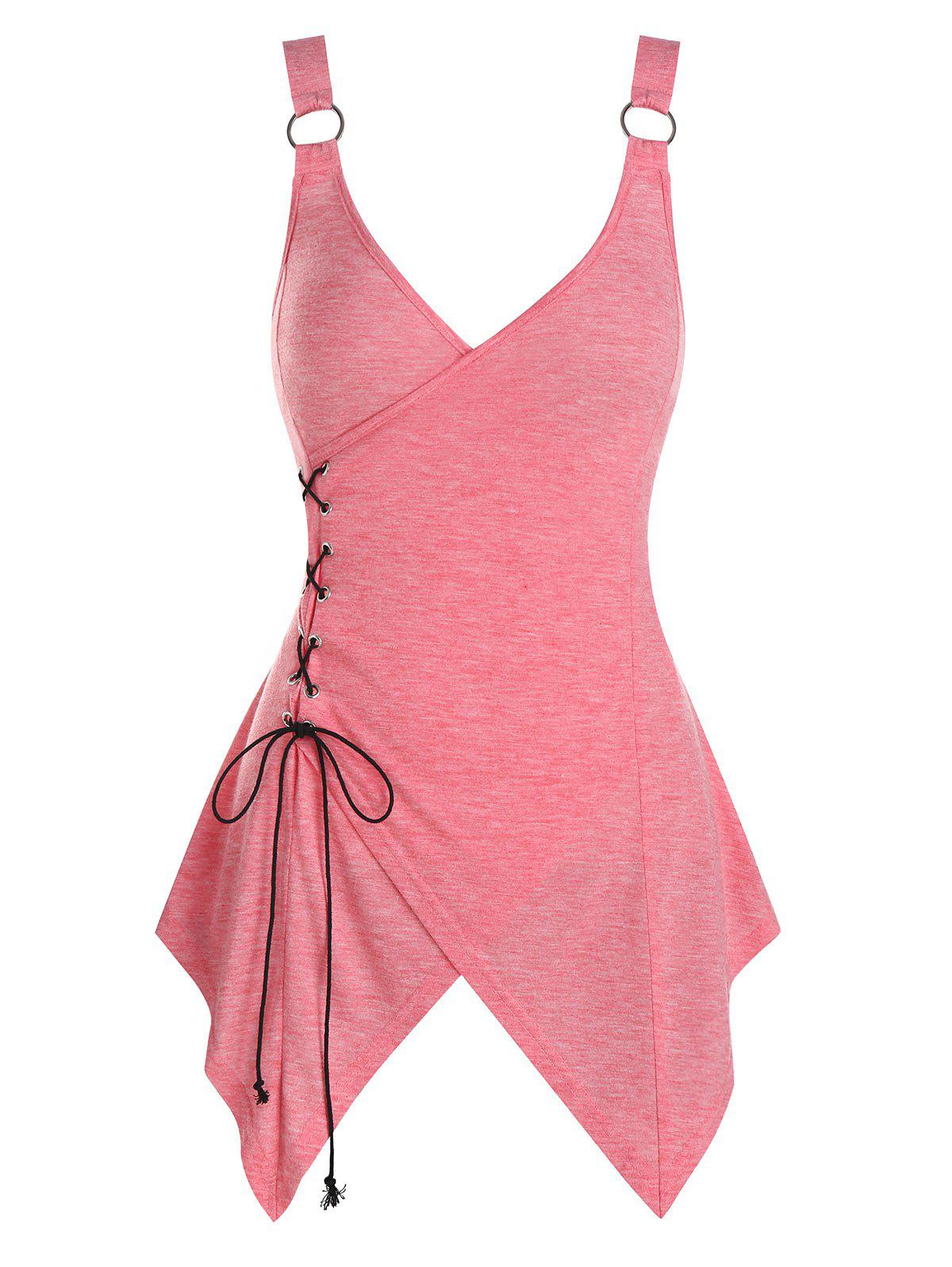 Discount Asymmetric Lace-up Heathered Surplice Tank Top
