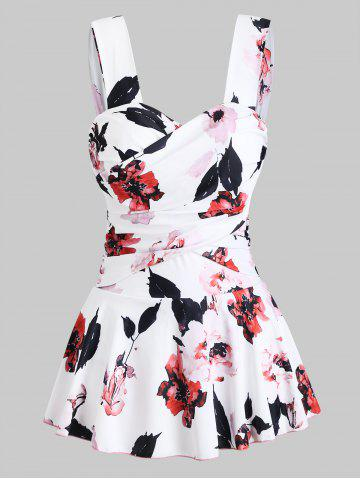 Floral Print Underwire Skirted Swimsuit - WHITE - M