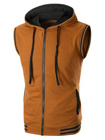 Rib Panel Contrast Hooded Tank Top - COFFEE - M