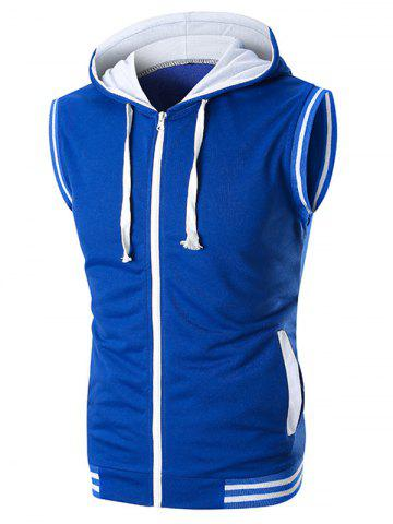 Rib Panel Contrast Hooded Tank Top - BLUE - 2XL