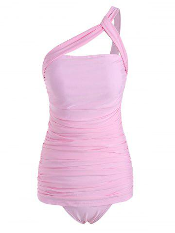 One Shoulder Ruched Tankini Swimwear - PIG PINK - S