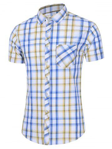 Short Sleeve Plaid Pocket Casual Shirt