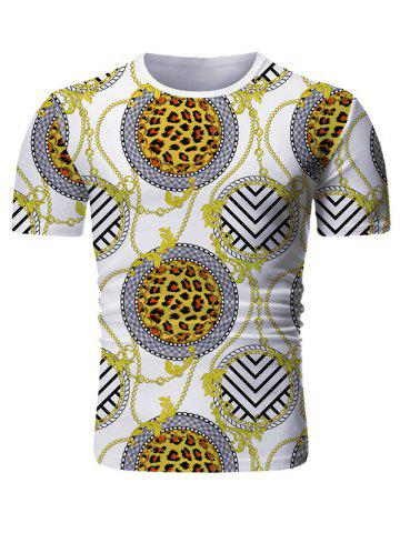 Baroque Print Short Sleeve T-shirt - WHITE - 3XL