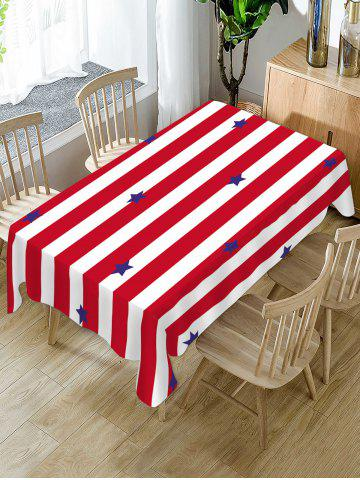 Striped and Star Print Table Cloth - RED - W60 X L84 INCH