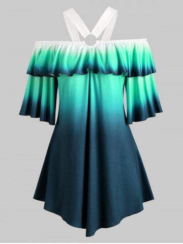 O Ring Cold Shoulder Flounces Ombre Plus Size Top - GREEN - 4X