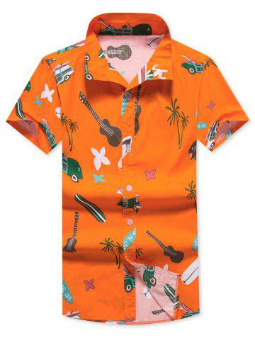 Guitar Printed Short Sleeves Hawaii Shirt - HALLOWEEN ORANGE - XS