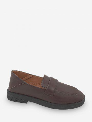 Square Toe Leather Slip On Flat Shoes - DEEP BROWN - EU 39