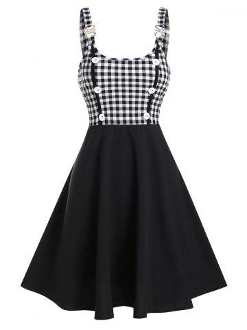 Plaid Print Mock Button Rhinestone Vintage Dress - BLACK - M
