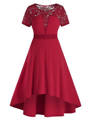 Plus Size Lace Panel High Waisted Sheer A Line Dress - RED WINE - L