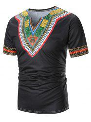 Ethnic Chervon Printed Short Sleeves T Shirt -