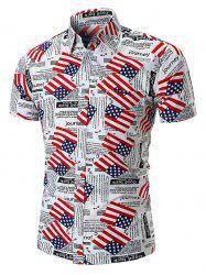 American Flag Letters Print Short Sleeves Shirt -
