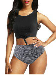 Knot Floral Striped Ruched Tankini Swimwear -