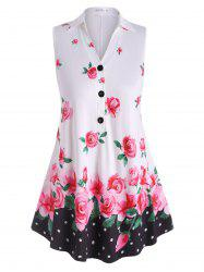 Sleeveless Half Buttoned Floral Plus Size Top -