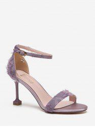Frayed Vamp High Heel Ankle Strap Sandals -