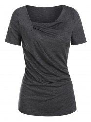 Cowl Neck Draped Heathered T-shirt -
