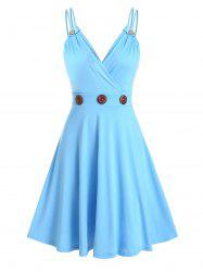 Mock Button Strappy Flare Dress -