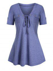Lace-up Double Pockets Heathered T-shirt -
