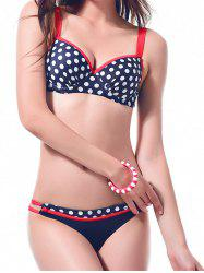 Polka Dot Push Up Ruched Bikini Swimwear -