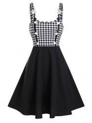 Plaid Print Mock Button Rhinestone Vintage Dress -