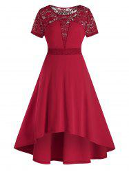 Plus Size Lace Panel High Waisted Sheer A Line Dress -