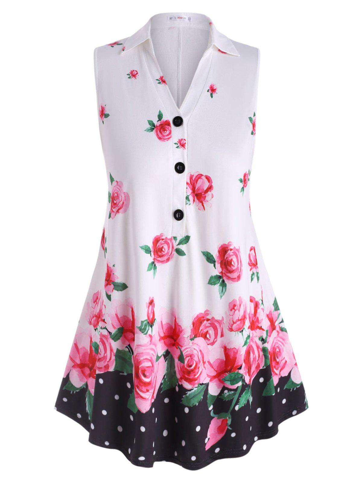 Buy Sleeveless Half Buttoned Floral Plus Size Top