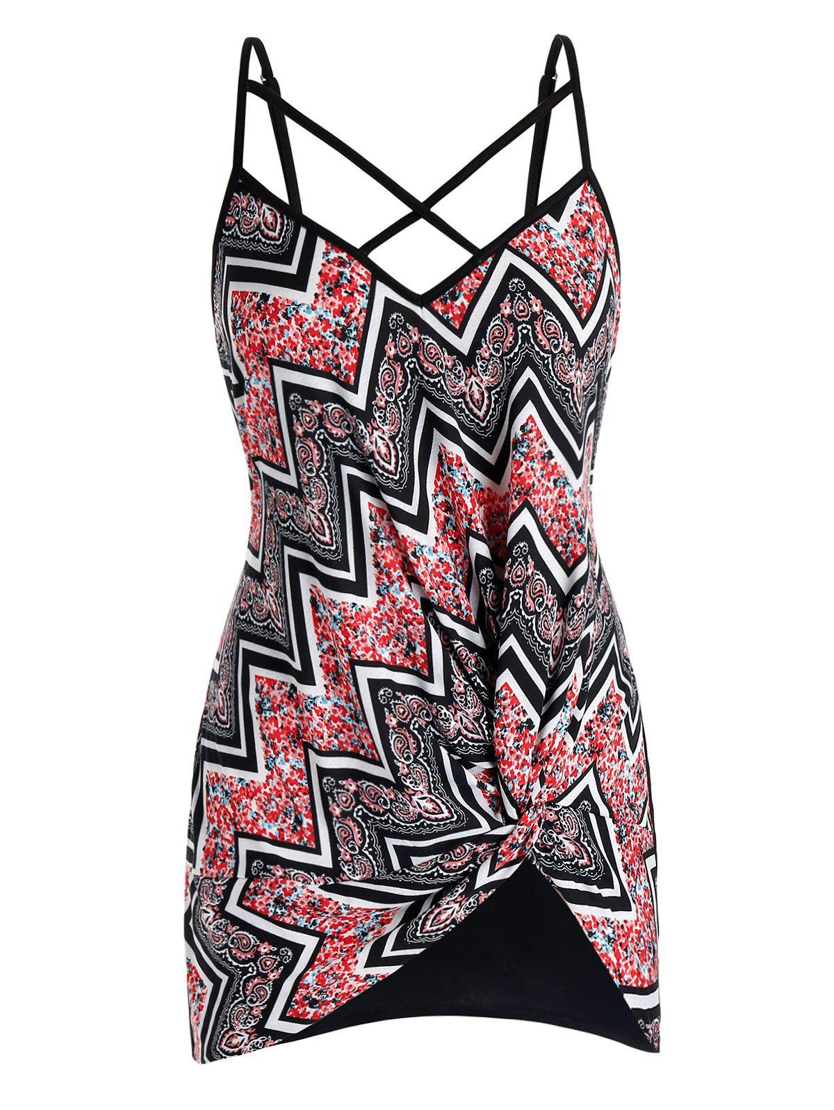 Online Plus Size Zigzag Twisted Print Criss Cross Cami Top