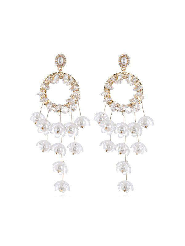Floral Faux Pearl Circle Fringe Earrings, White