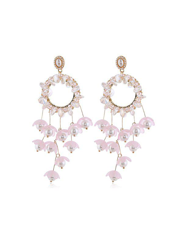 Floral Faux Pearl Circle Fringe Earrings, Pink