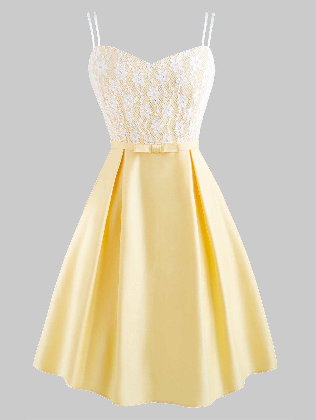 Chic Lace Insert Dual Straps Prom Dress